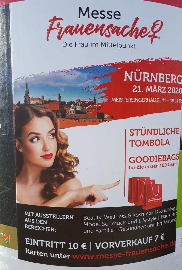 """Klischeehaftes Werbeplakat """"Frauensache"""" für Messe"""