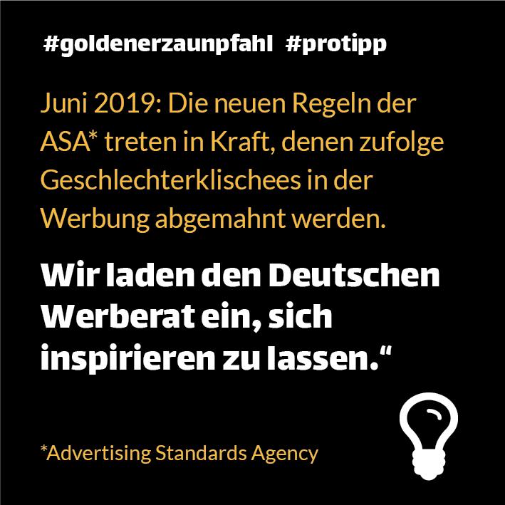 Hinweis auf Regeln der ASA, denen zufolge Geschlechterklischees in der Werbung abgemahnt werden.