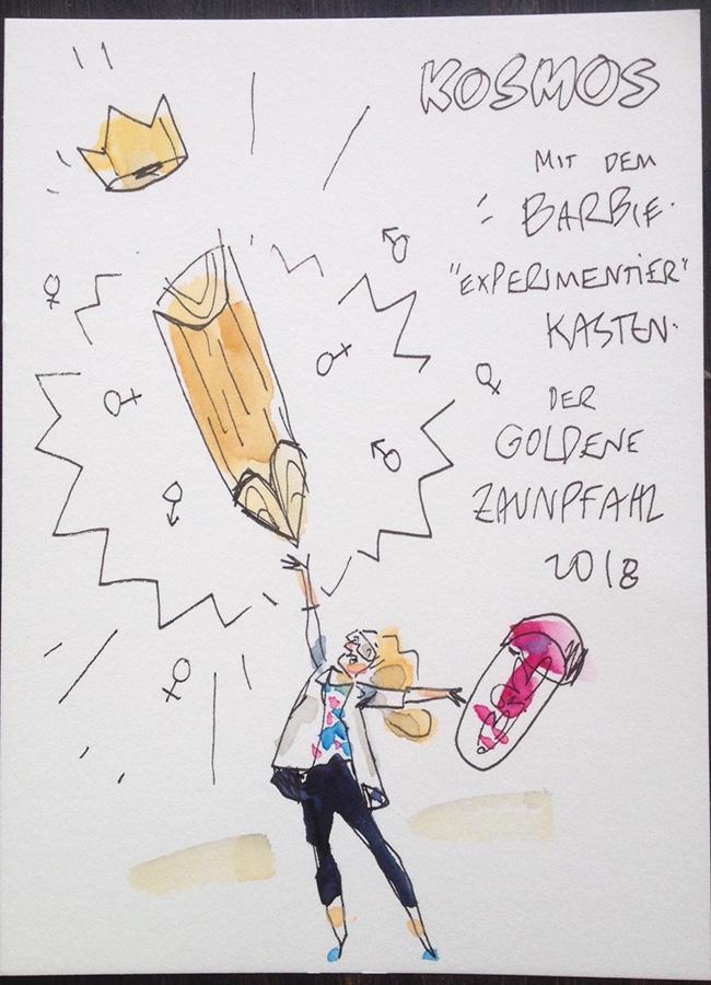 Barbie Experimentierkasten, Gewinner des Goldenen Zaunpfahls 2018 (gezeichnet von Till Lassmann)