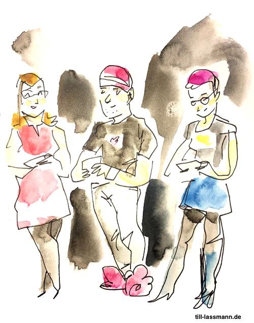 Anke Domscheit-Berg, Almut Schnerring und Sascha Verlan (gezeichnet von Till Lassmann)