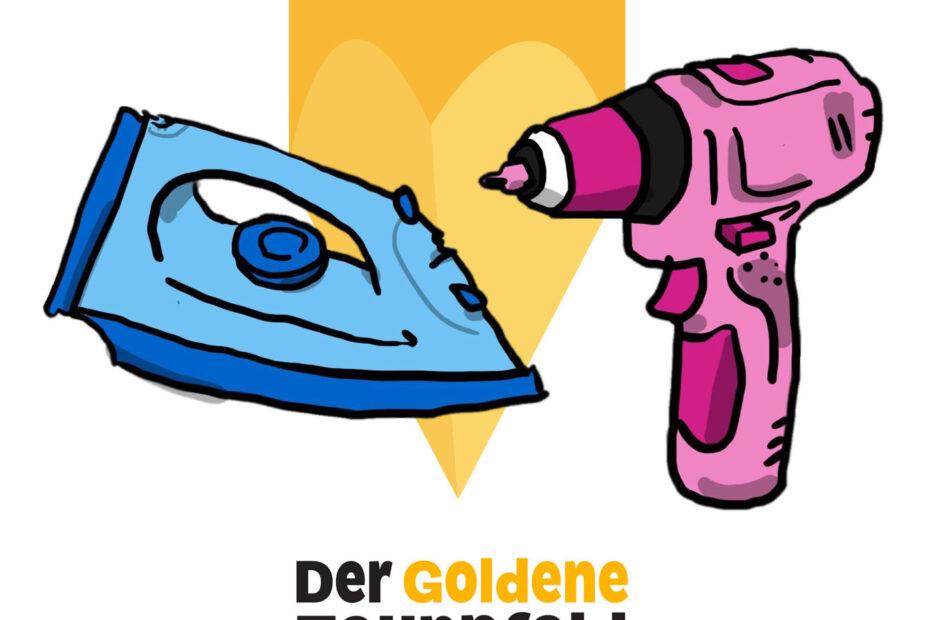 Illustration eines goldenen Zaunpfahls, davor ein blaues Bügeleisen und eine pinkfarbene Bohrmaschine
