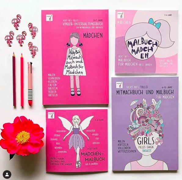 Rosa und pinke Malbücher für Mädchen
