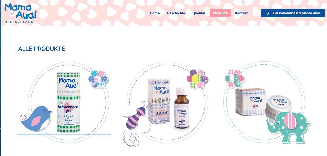 Verschiedene Gesundheitsprodukte der Marke Mama Aua!
