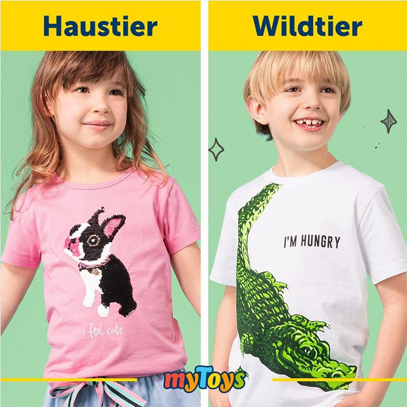 My Toys Kinder-T-Shirt - Niedliches Haustier trifft auf hungriges Wildtier