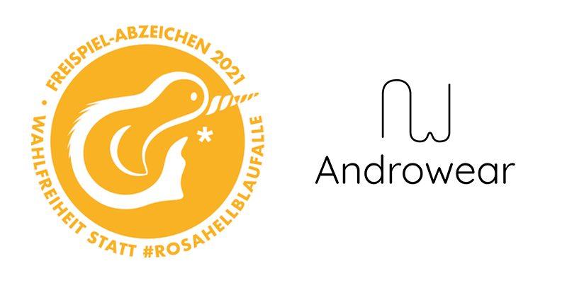 Weißer Hintergrund, links das freispiel-Abzeichen-Logo, rechts das Androwear-Logo